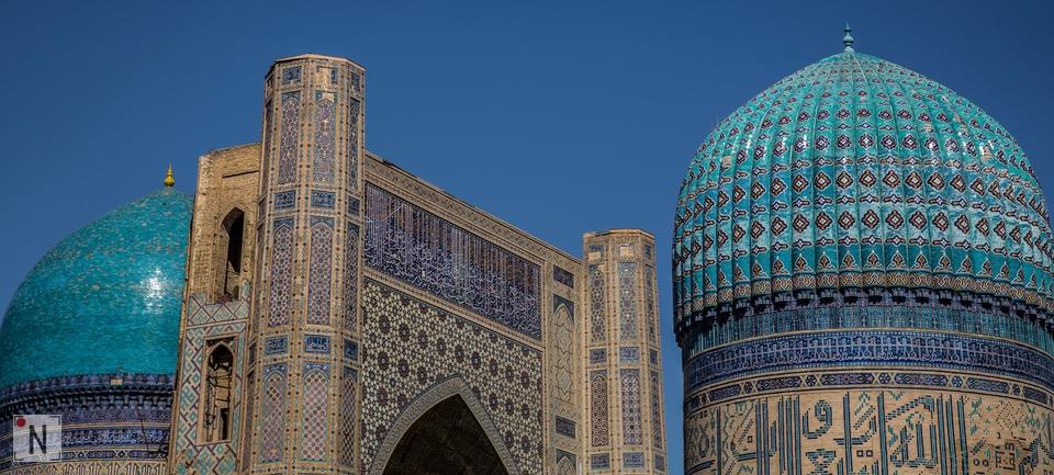 Niebieskie kafelki zabytkowej Samarkandy